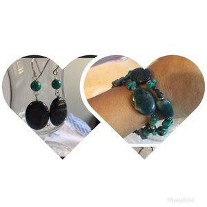 Jewelry - B20.  Apatite/turquoise bracelets/earrings